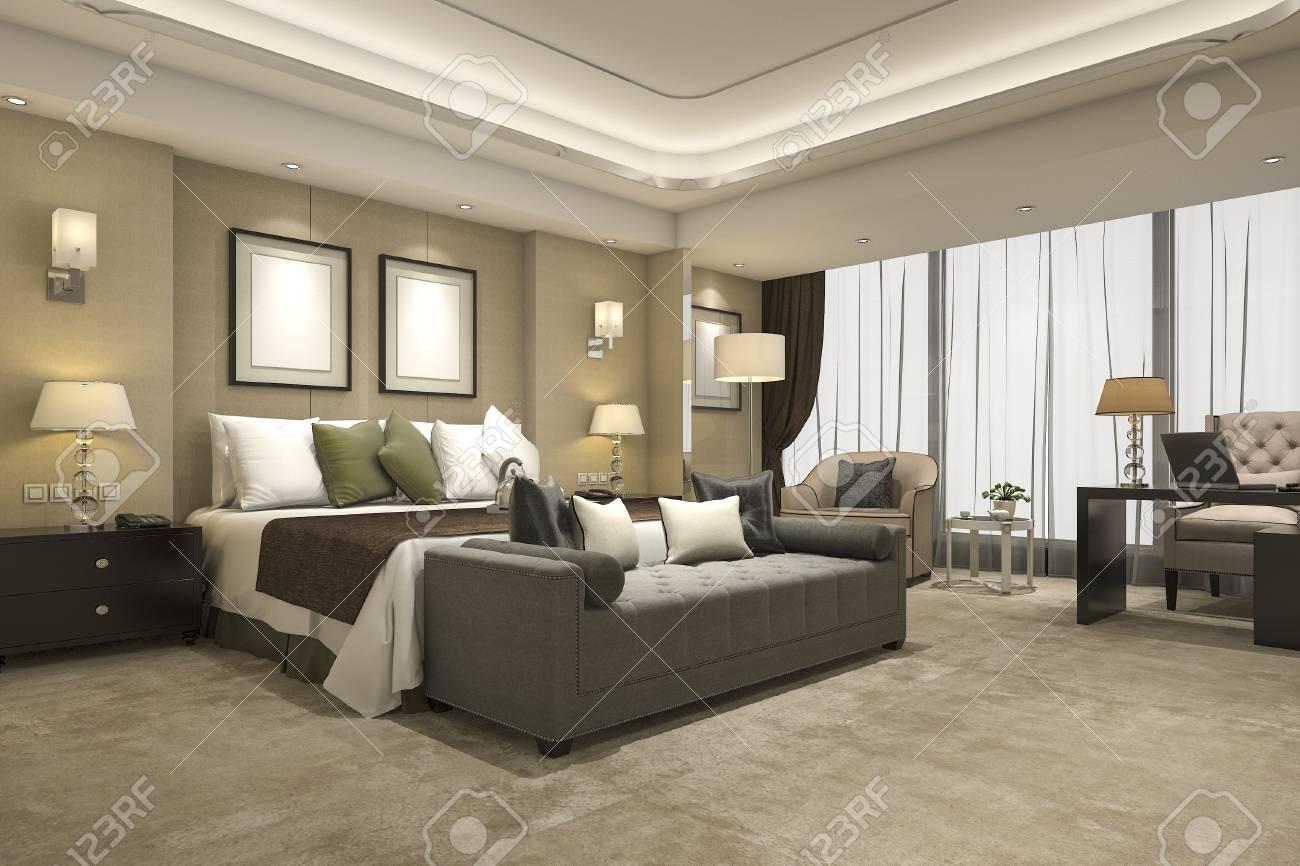 Ensemble De Chambre à Coucher Moderne De Luxe En Hôtel Et En Villégiature
