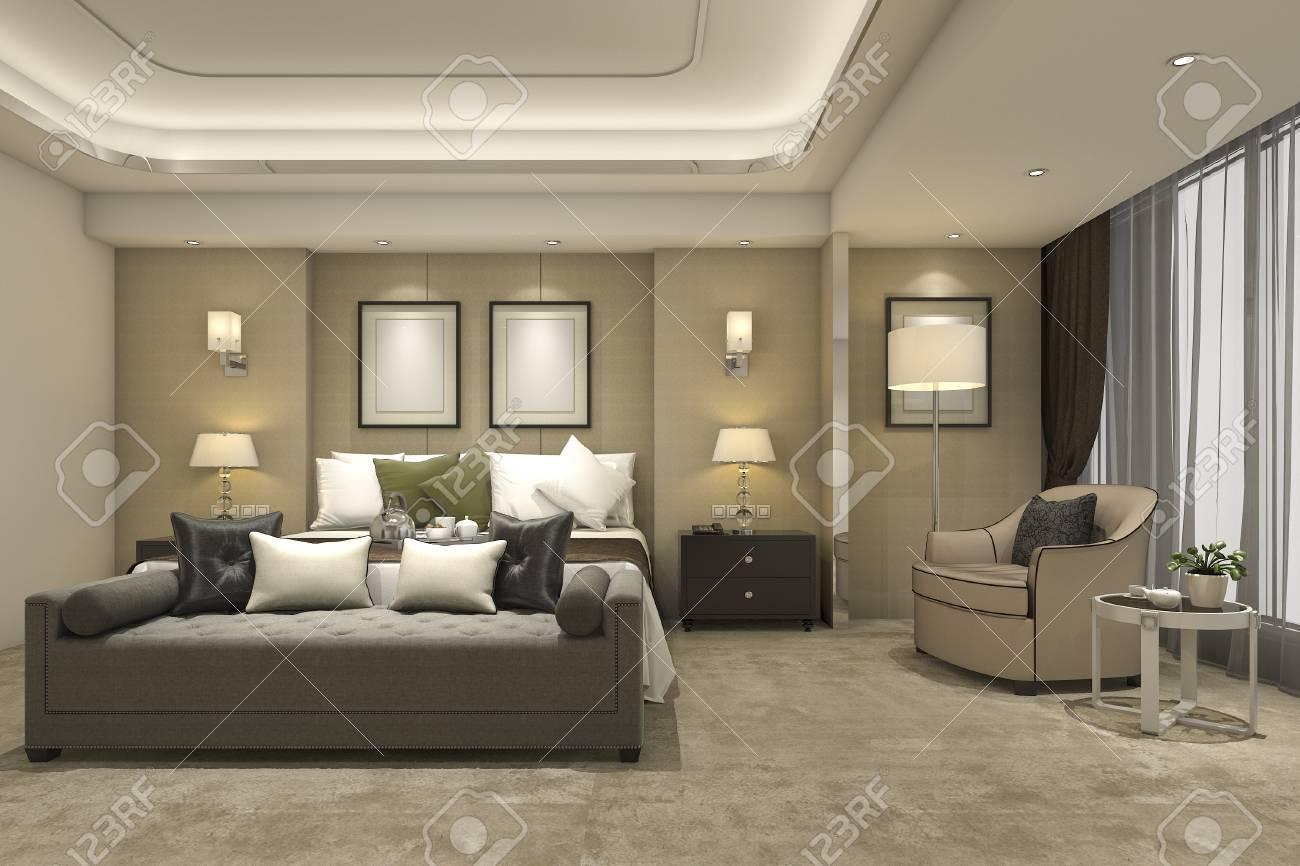 Suite di camera da letto moderna di lusso della rappresentazione 3d in  hotel e località di soggiorno