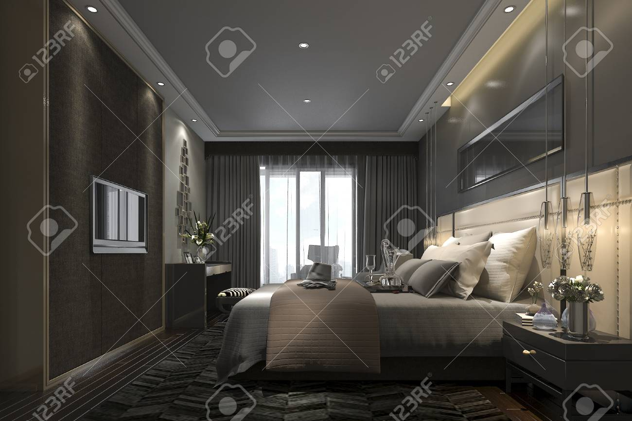 3d che rende la suite di camera da letto moderna di lusso nera in hotel e  nella località di soggiorno