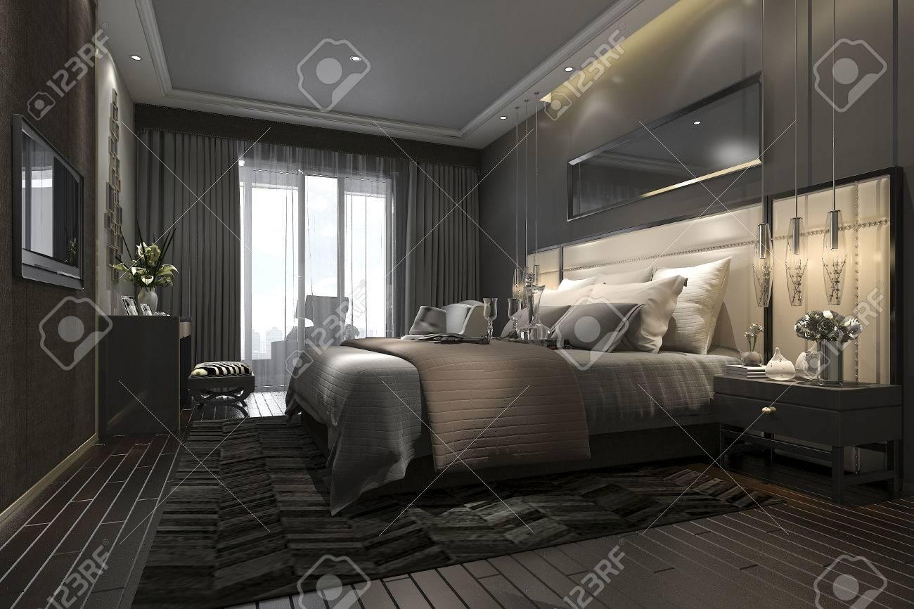 3d Che Rende La Suite Di Camera Da Letto Moderna Di Lusso Nera In ...