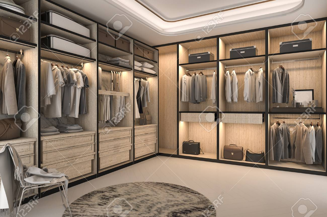 3d rendering minimal loft luxury wood walk in closet with wardrobe - 84293499