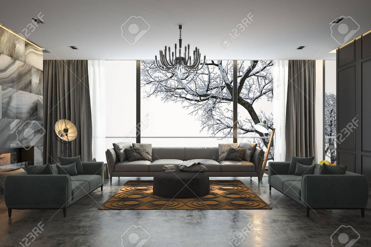 3d Rendering Living Room With Sofa Near Winter Scene Outside Stock