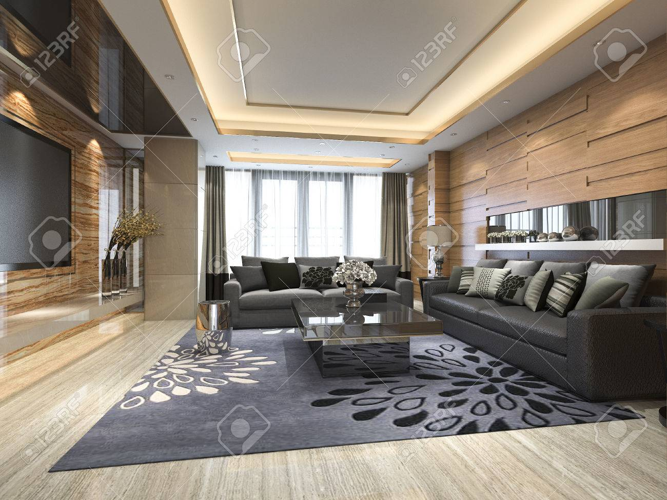 3d rendering luxury and modern living room with leather sofa