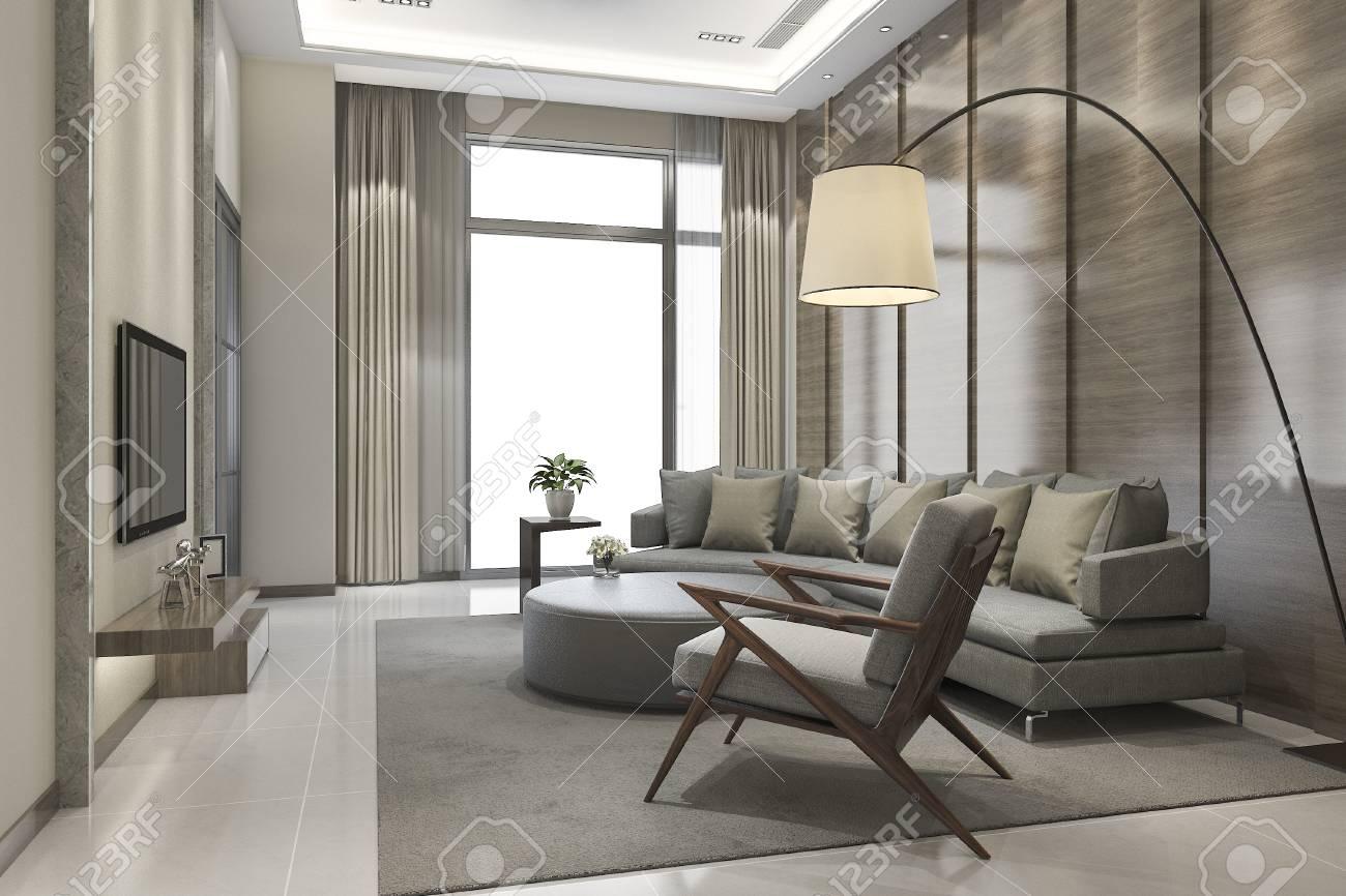 Rendu 3D Luxe Et Salon Moderne Avec Canapé En Cuir Banque D\'Images ...