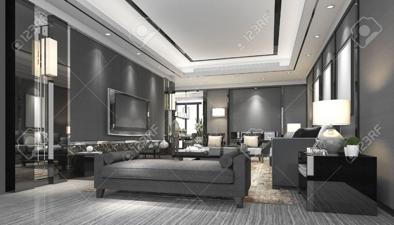 3d luxe rendu et salon moderne avec canapé en cuir