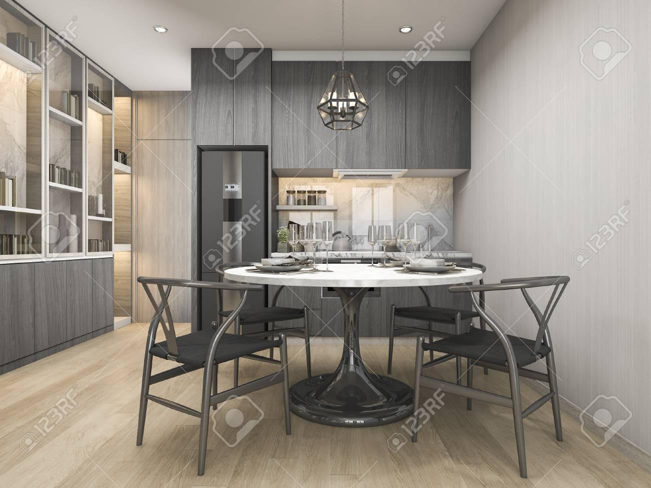 3d que rinde la cocina blanca moderna y de lujo del diseño con la mesa de  comedor y el estante