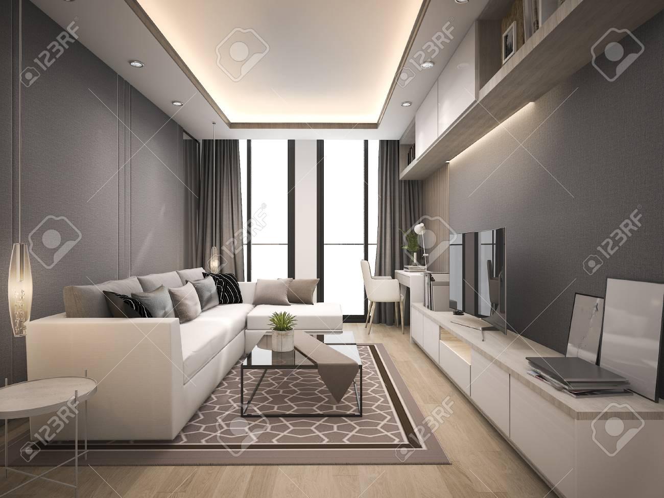 3d luxe rendu et salon moderne avec un canapé de conception en cuir blanc