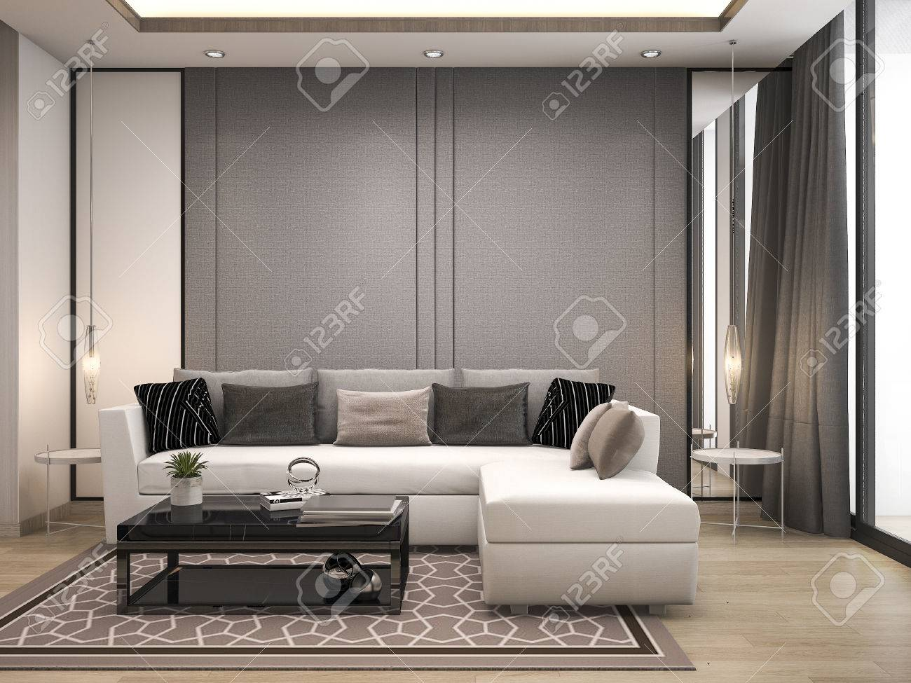 Rendering Soggiorni Moderni.3d Rendering Luxury And Modern Living Room With Good Design Leather