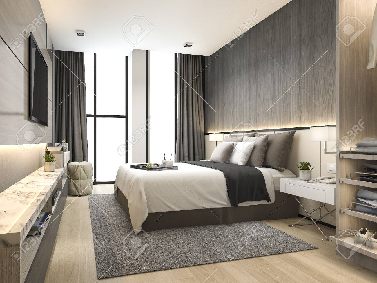 3d Rendering Luxury Modern Bedroom Suite In Hotel With Wardrobe And Walk Closet Stock Photo