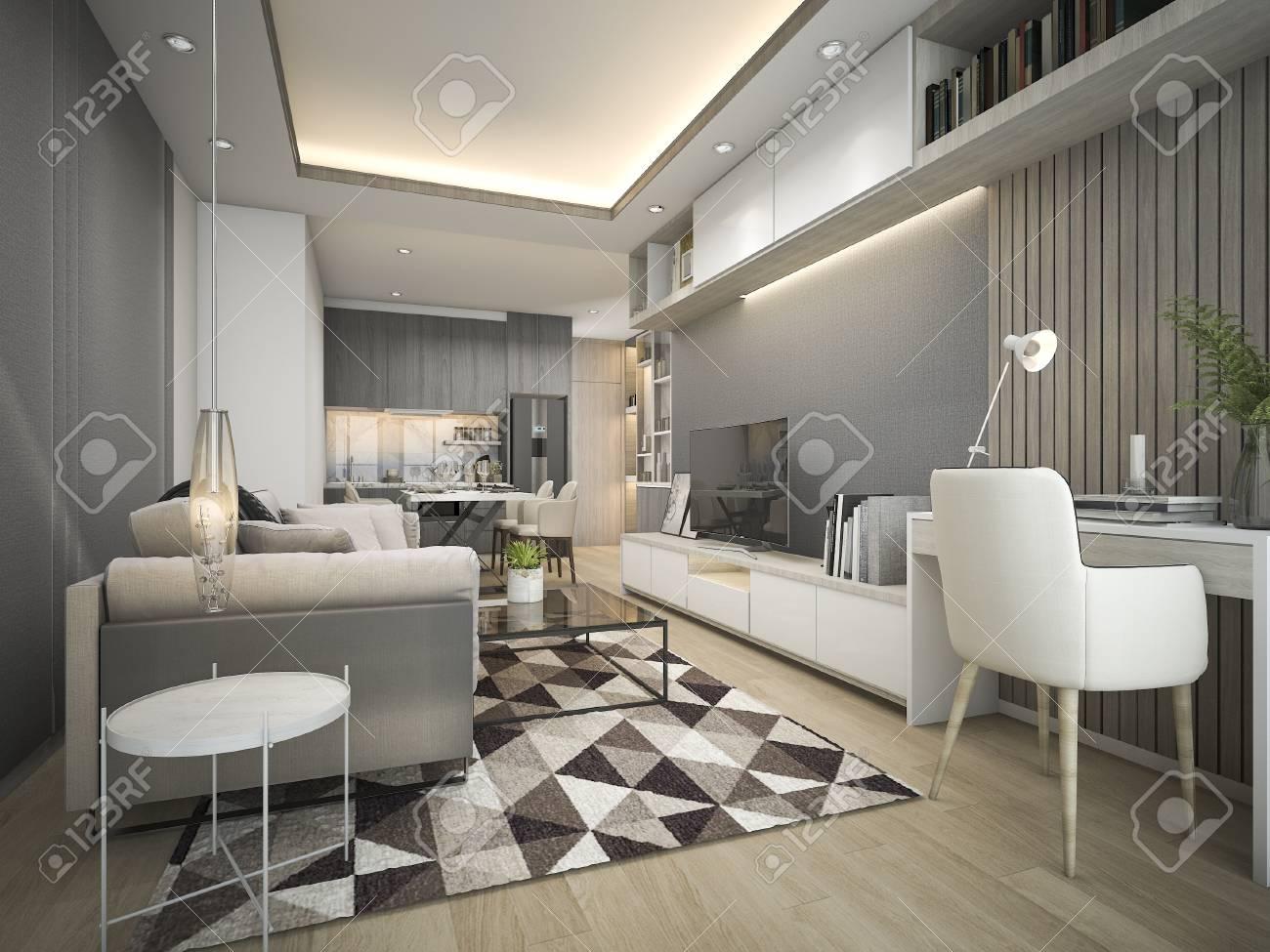 3D Rendant Luxe Et Salle De Séjour Moderne Avec Canapé En Cuir De Bonne  Conception Banque