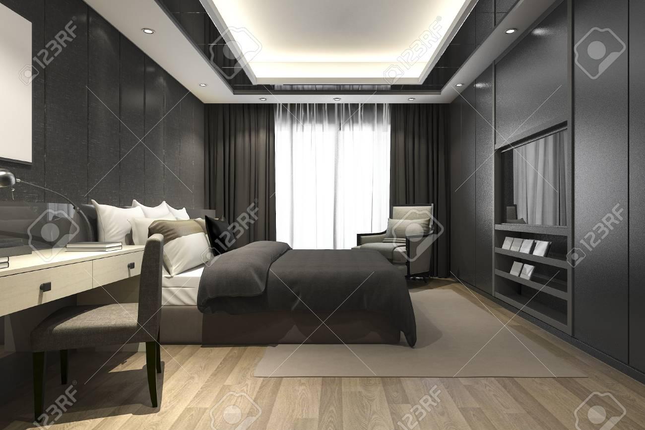3d rendering black luxury modern bedroom suite in hotel and resort