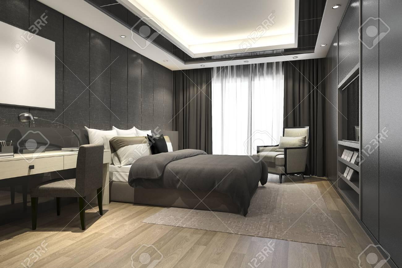 Banque Du0027images   Rendu 3D Noir Luxe Chambre Moderne Suite Dans Lu0027hôtel Et  La Station