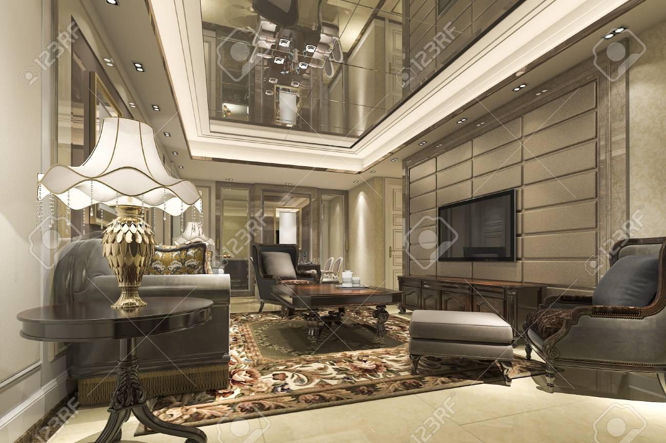 Banque Du0027images   Rendu 3D De Luxe Et Salon Moderne Et Salon Avec Table à  Manger