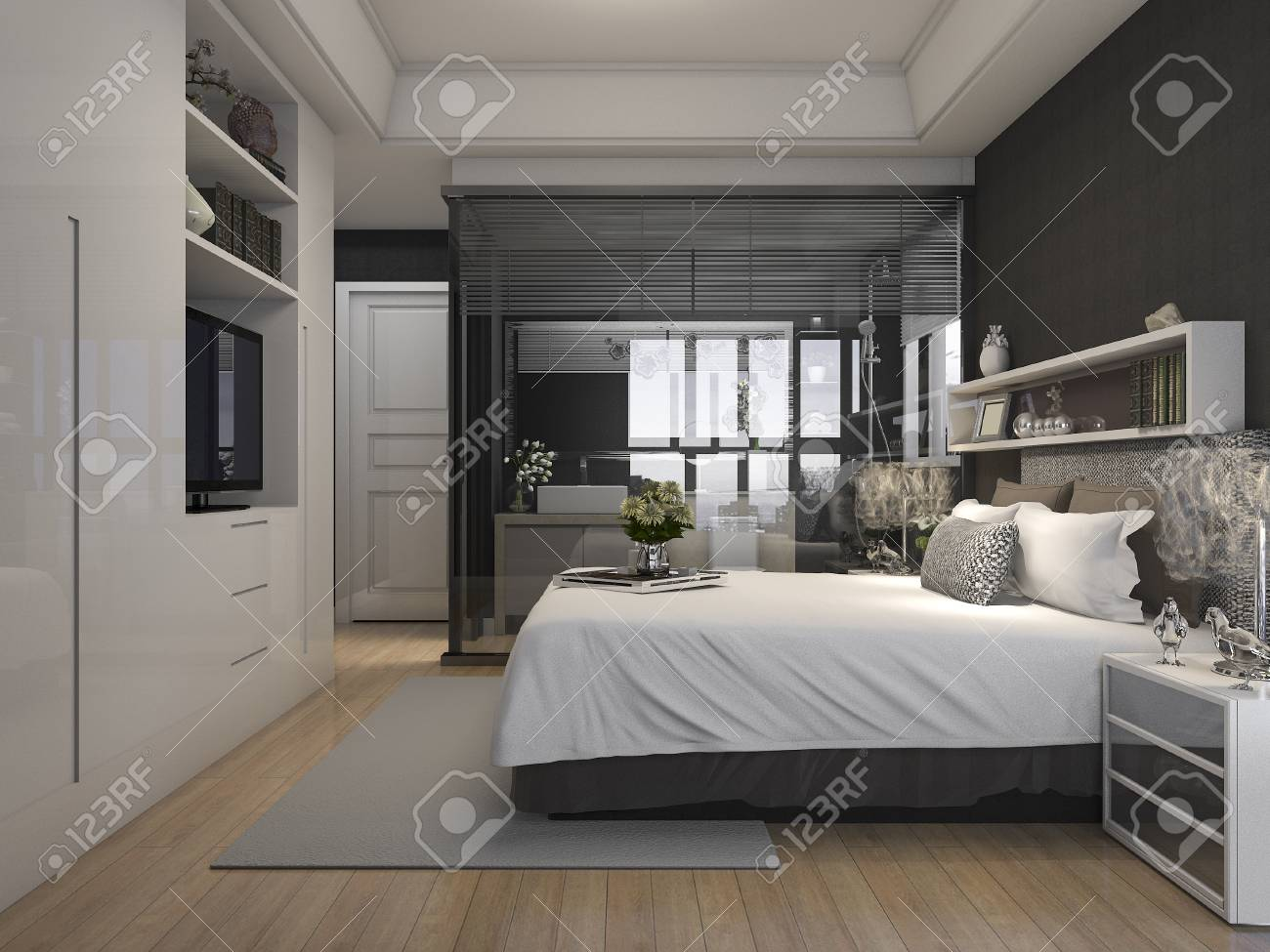 3D-Rendering Luxus Suite Hotel Schlafzimmer In Der Nähe Von Glas ...