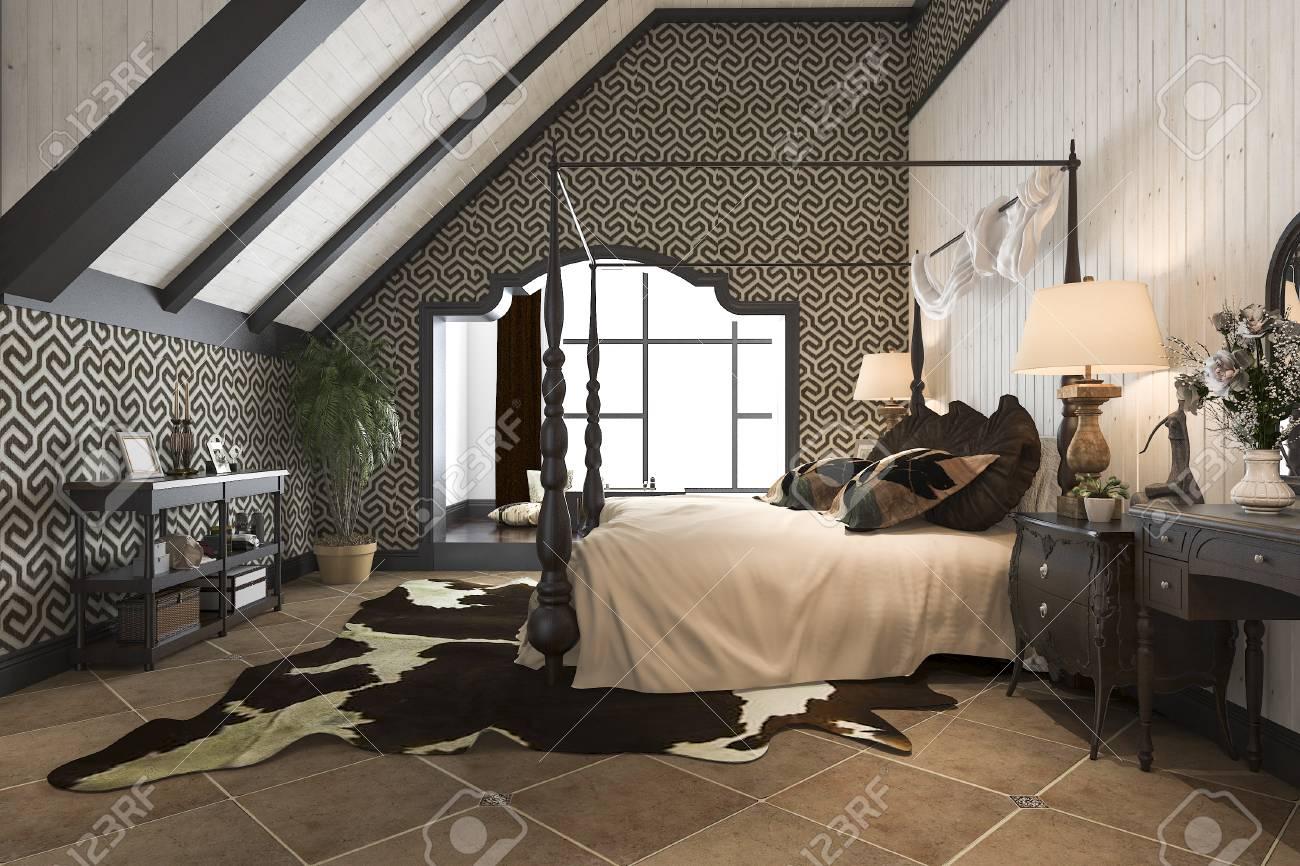 Charmant 3d Rendu Luxe Vintage Moderne Suite Chambre Dans L U0026 # 39 ; Hôtel Et La