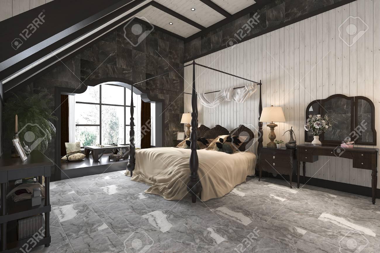3d rendering vintage luxury modern bedroom suite in hotel and..