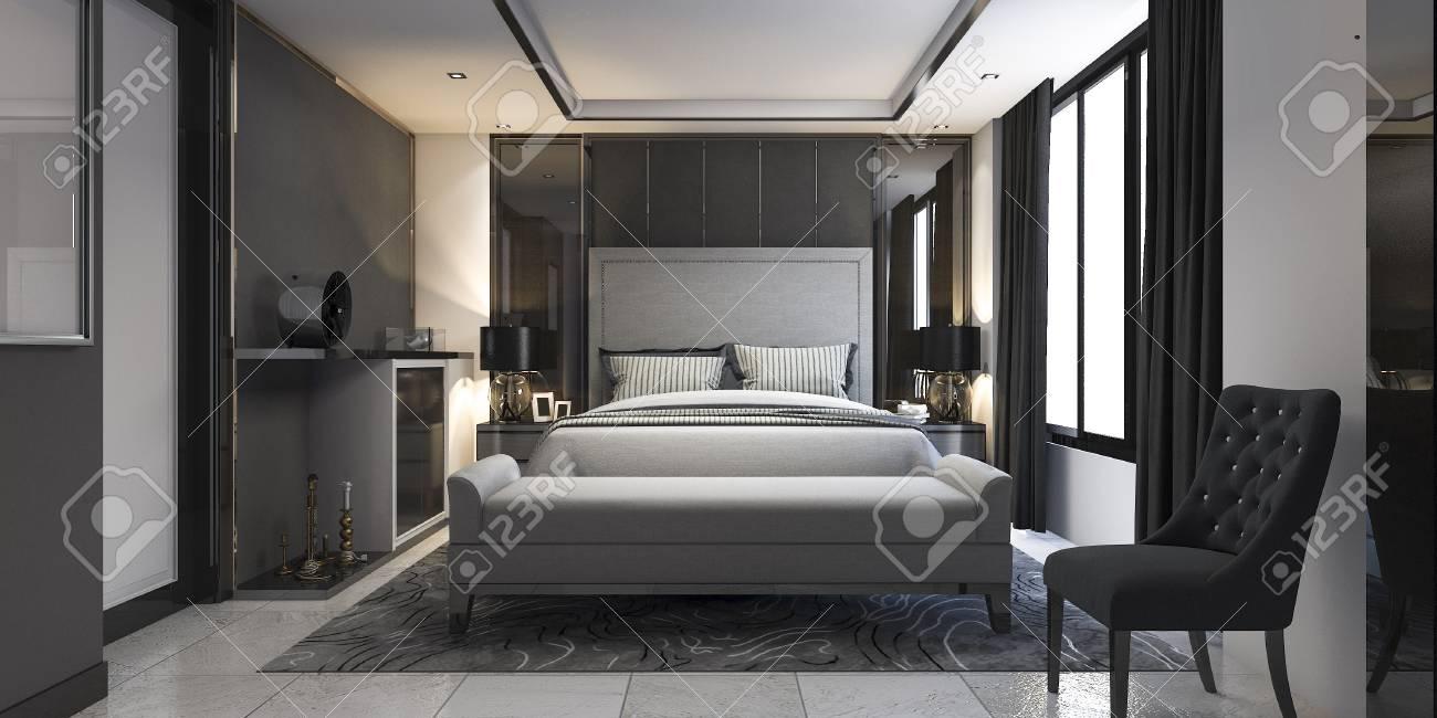 . 3d rendering modern luxury bedroom suite in hotel with decor