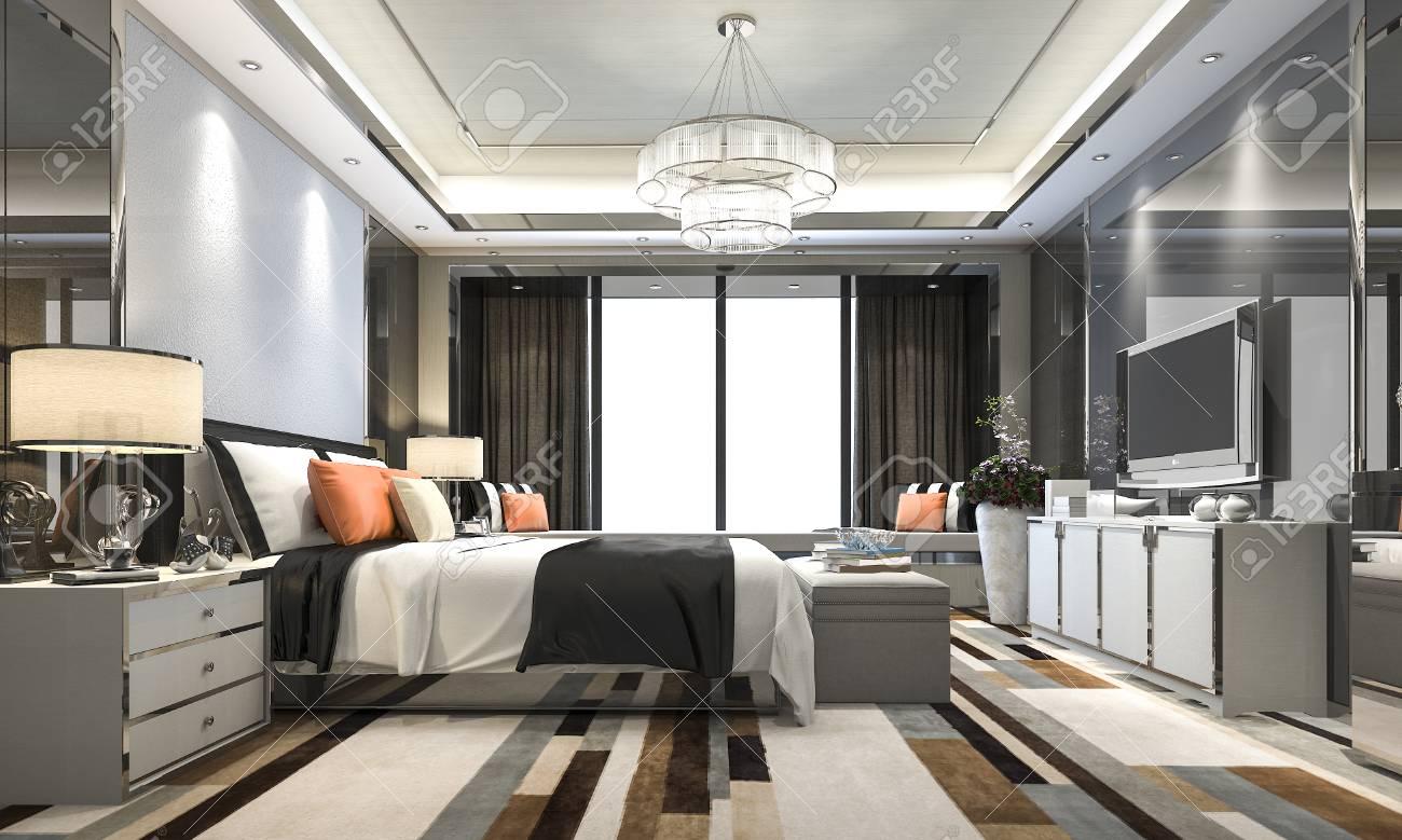 Banque Du0027images   Suite De Luxe Moderne De Chambre à Coucher De Rendu 3D  Dans Lu0027hôtel Avec Le Décor