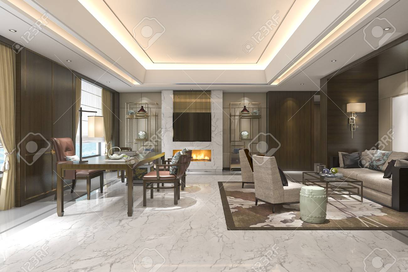 3d Rendering Chinese Classic Living Room With Leather Sofa Stock ...