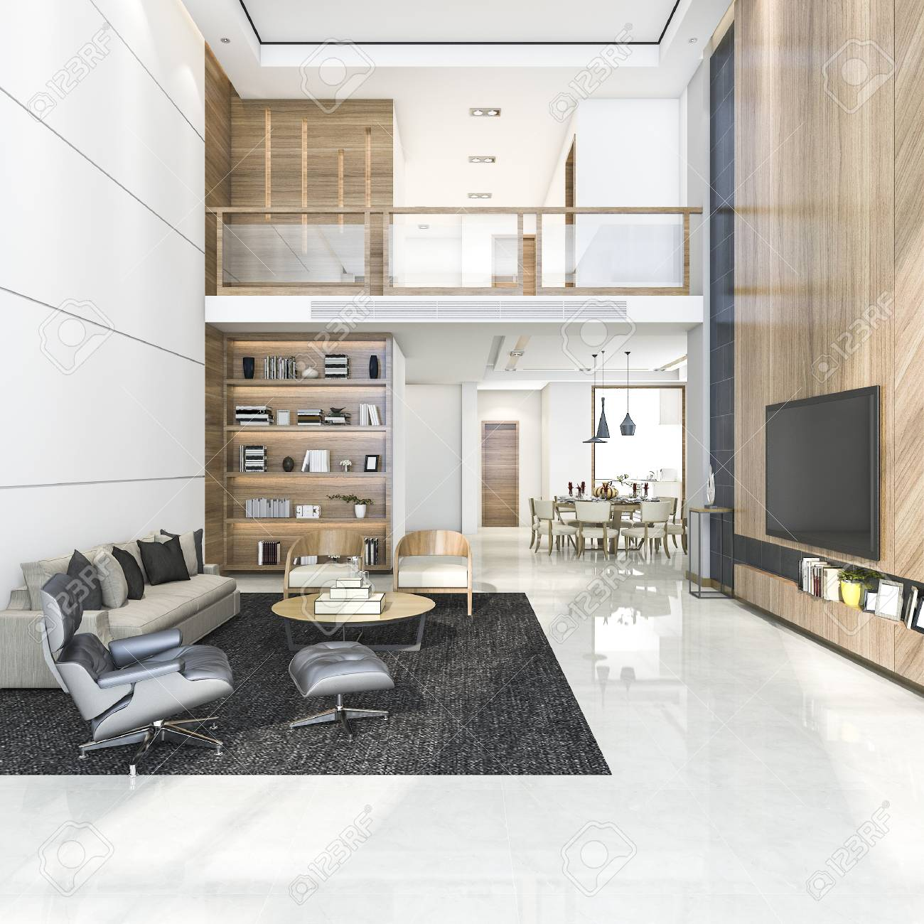 Rendu 3D en bois moderne salon et salle à manger
