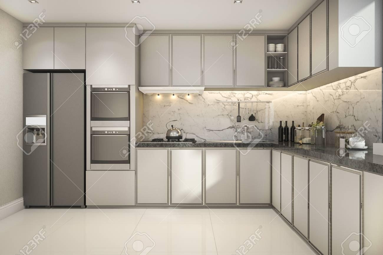 Schöne Moderne Küche Der Wiedergabe 3d Mit Marmordekor Lizenzfreie ...
