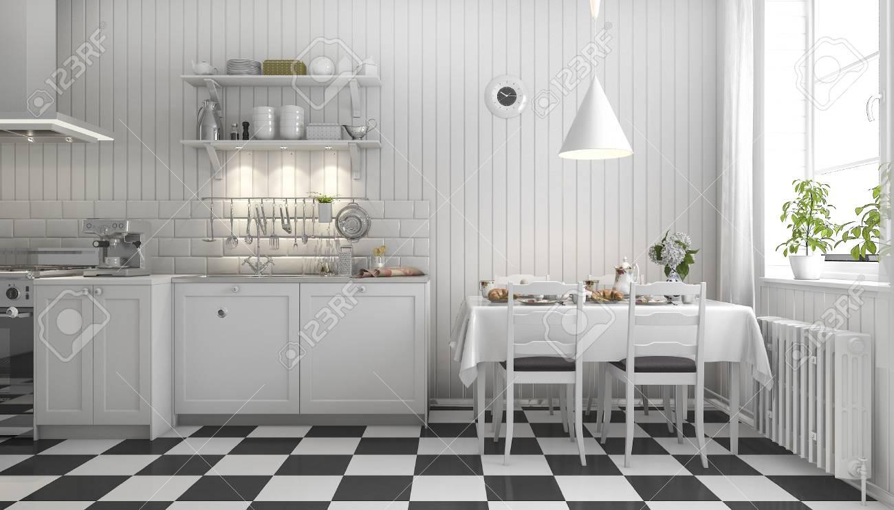 Schöne Skandinavische Küche Der Wiedergabe 3d Mit Schwarzem ...