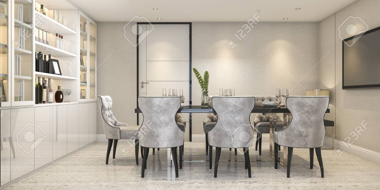 3d Rendering Dining Set In Modern Luxury Dining Room Near Door Stock