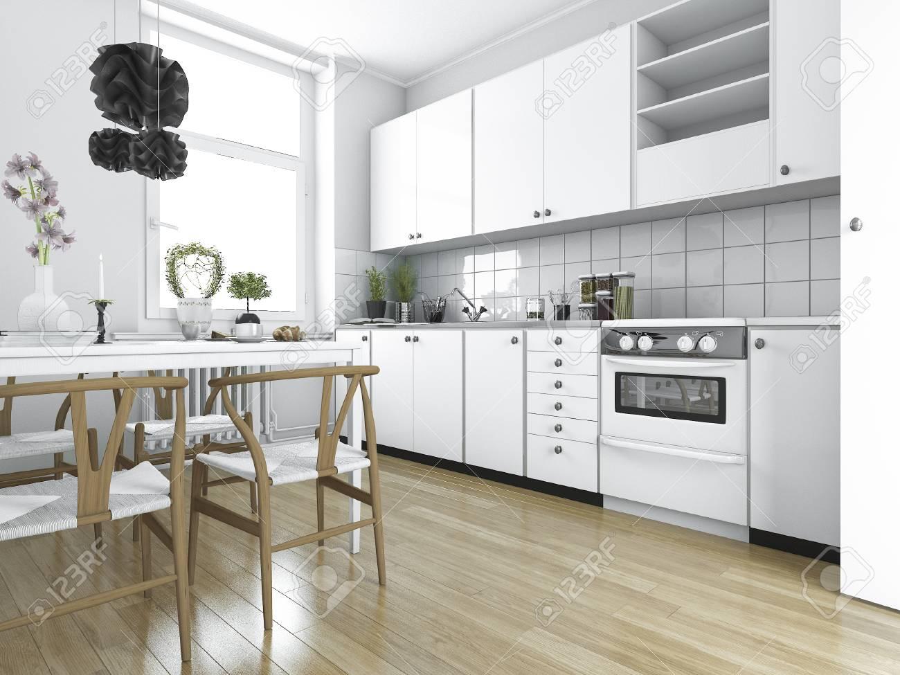 Il Tavolo Da Cucina.Immagini Stock Cucina D Annata Scandinava Della Rappresentazione