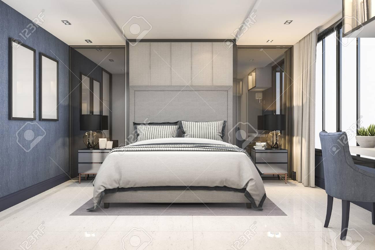 Suite de luxe bleu moderne de chambre à coucher de rendu 3D dans l\'hôtel  avec le décor