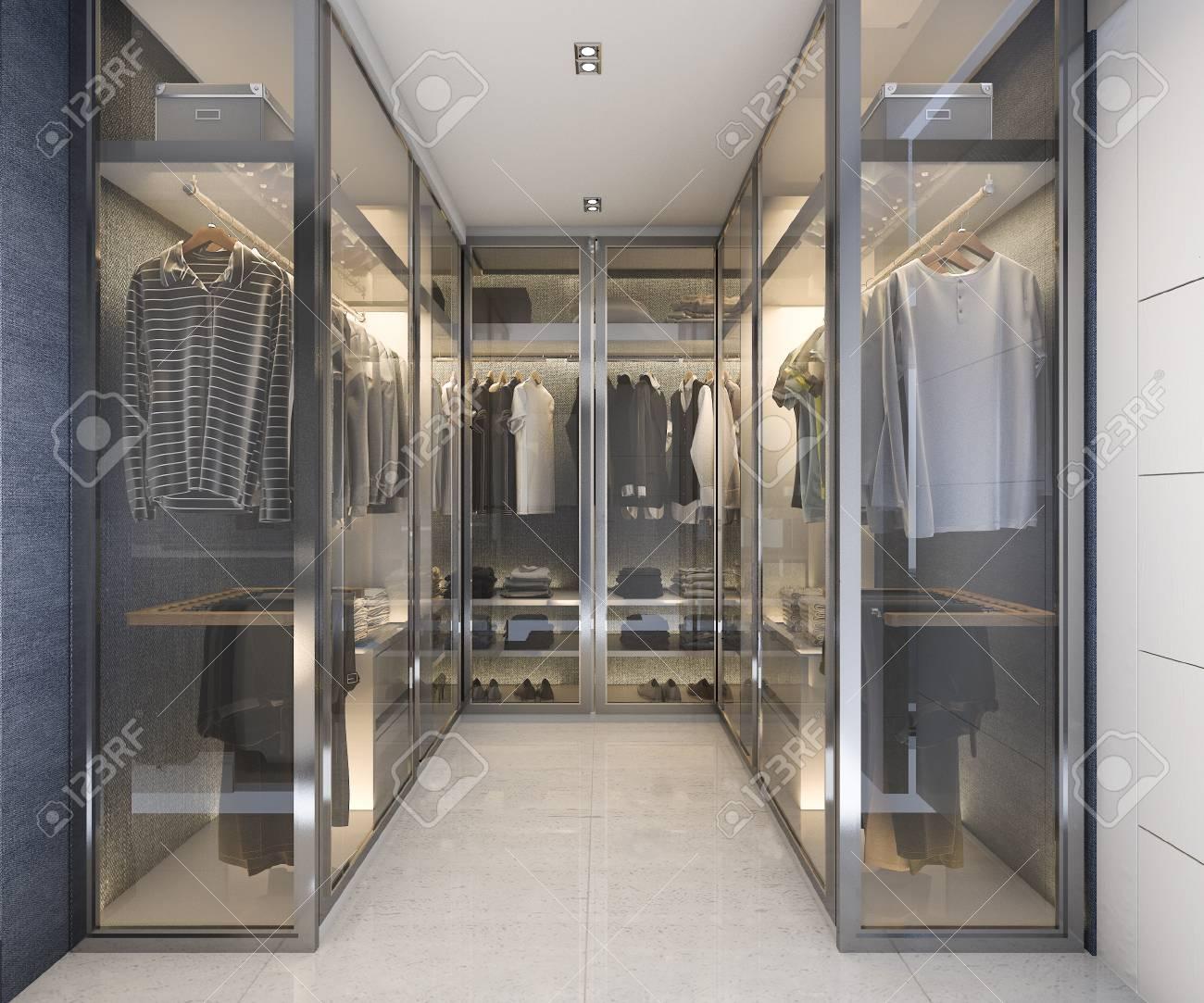 . 3d rendering modern luxury glass walk in closet with blue decor