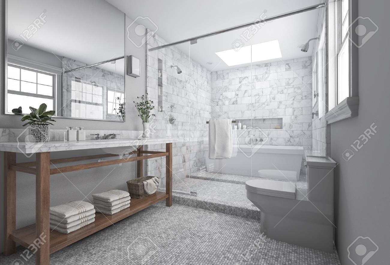 Rendu 3d Moderne Salle De Bain Minimaliste Avec Un Decor Scandinave Et Belle Vue Sur La Nature Depuis La Fenetre