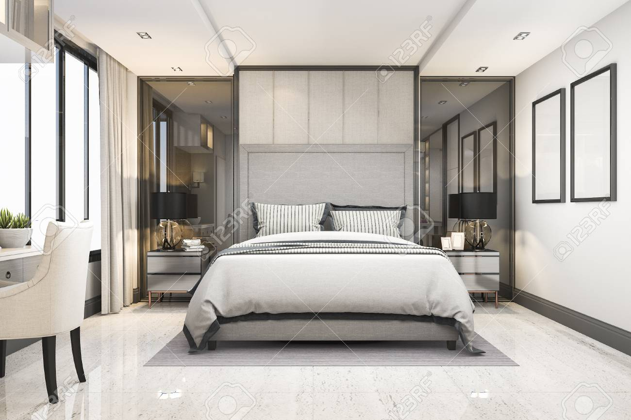 . 3d rendering white modern luxury bedroom suite in hotel with