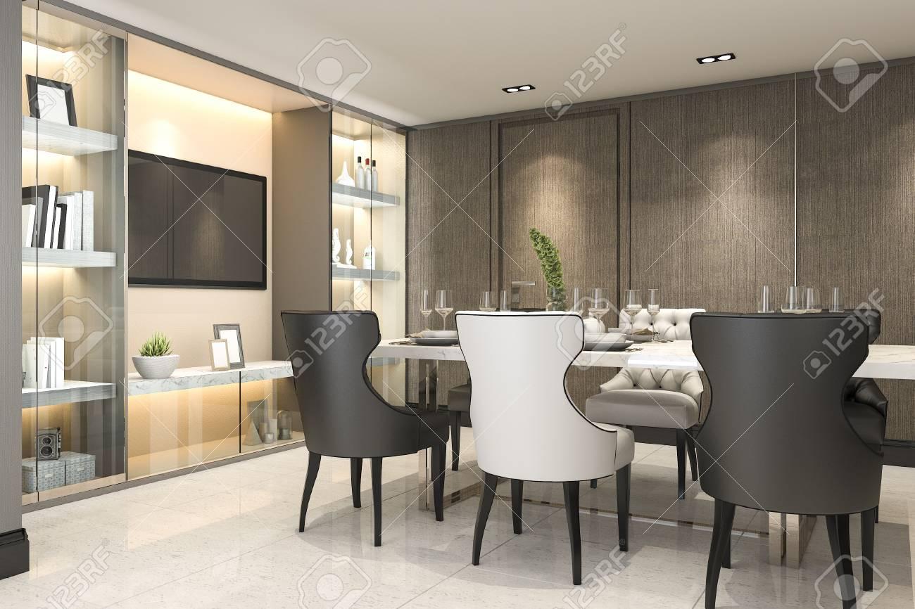 Luxe Eetkamer Set.3d Rendering Dining Set In Modern Luxury Brown Dining Room Stock
