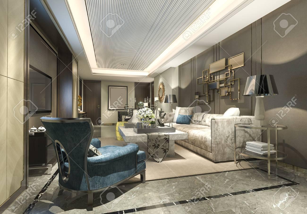 Attrayant Banque Du0027images   Rendu 3D De Luxe Et Salon Moderne Et Salle à Manger