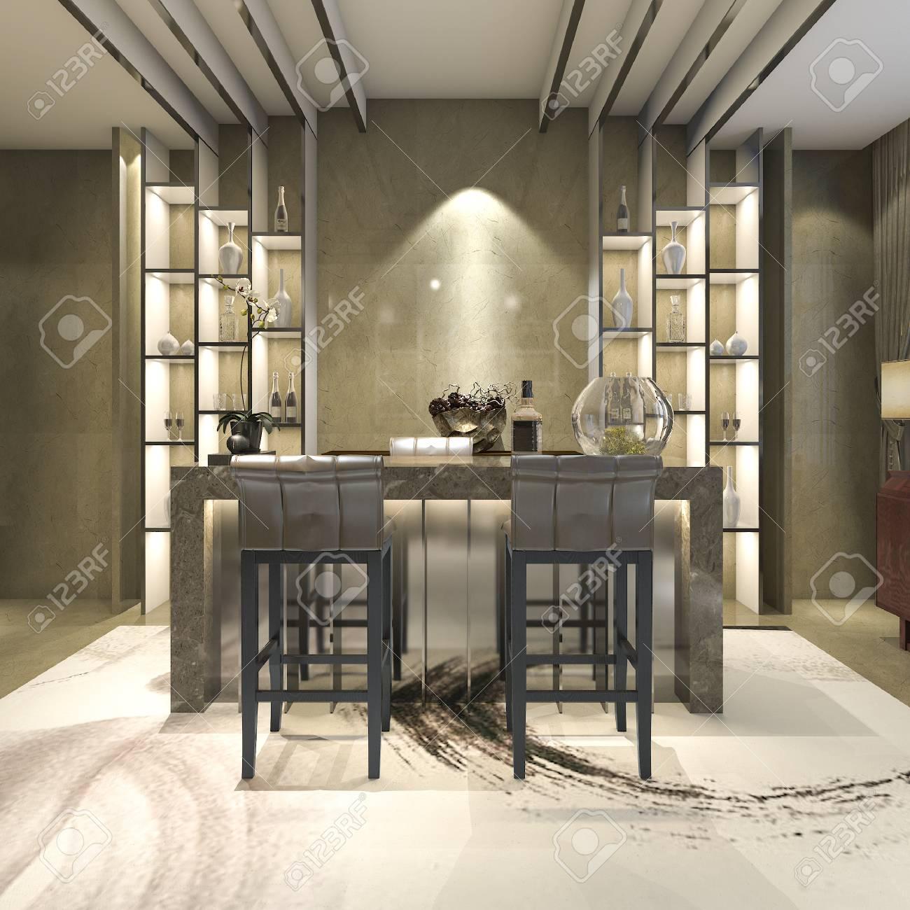 Representación 3D comedor de diseño moderno y de lujo blanco