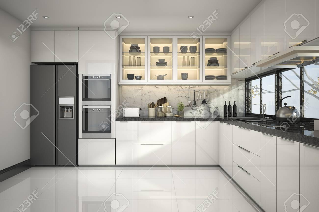 Procesamiento De 3d Hermosa Cocina Blanca Moderna Con Decoracion De - Cocina-blanca-moderna