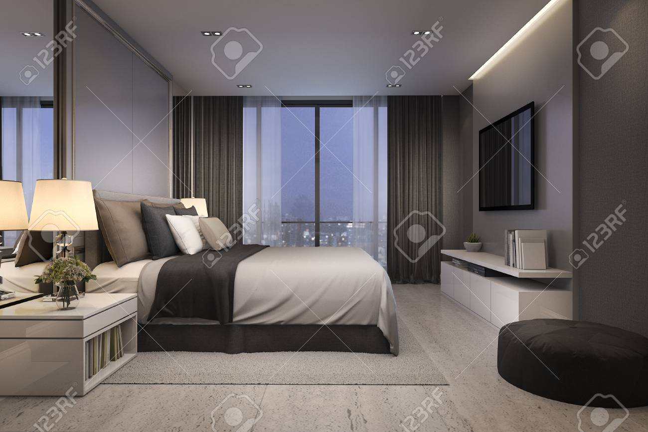 . 3d rendering modern luxury bedroom suite at night with cozy design