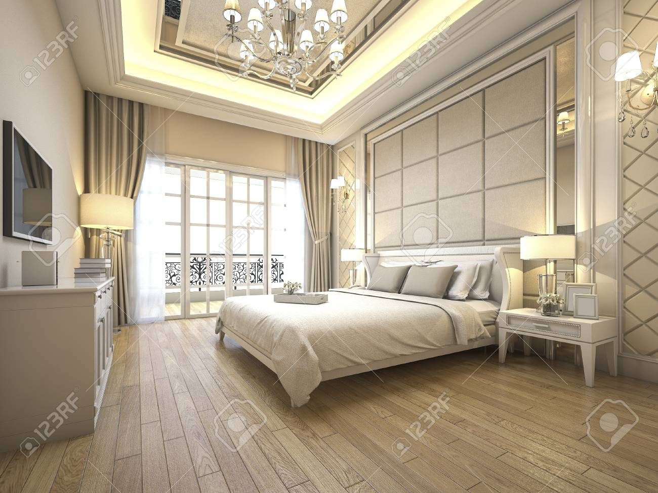 3d Rendering Modern Luxury Classic Bedroom With Marble Decor Stock