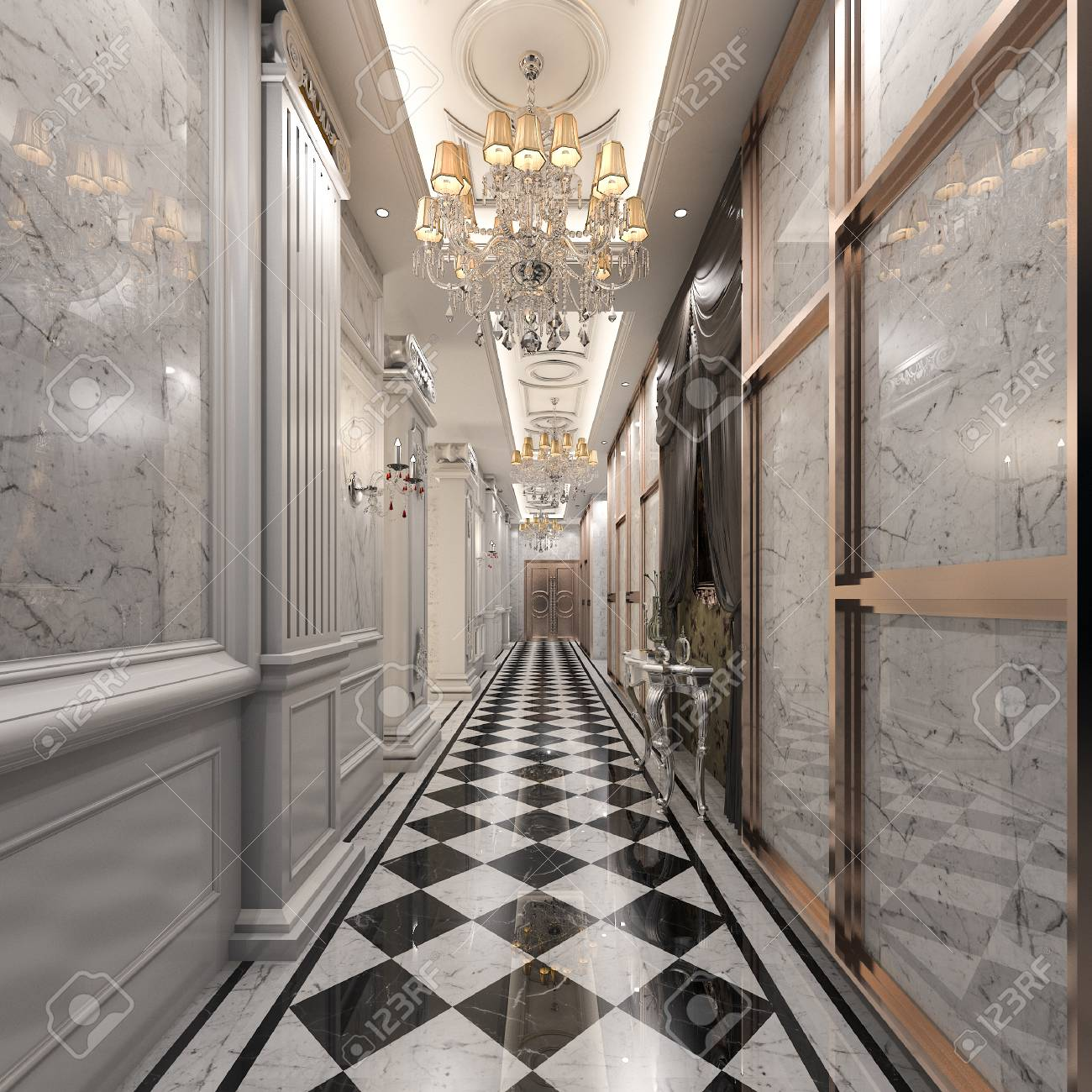 3d Rendering Luxury Hotel Reception And Classic Lounge Restaurant