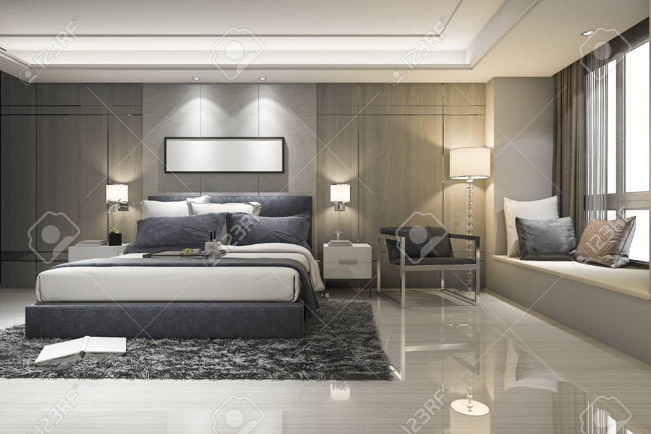 . 3d rendering modern luxury bedroom suite and bathroom