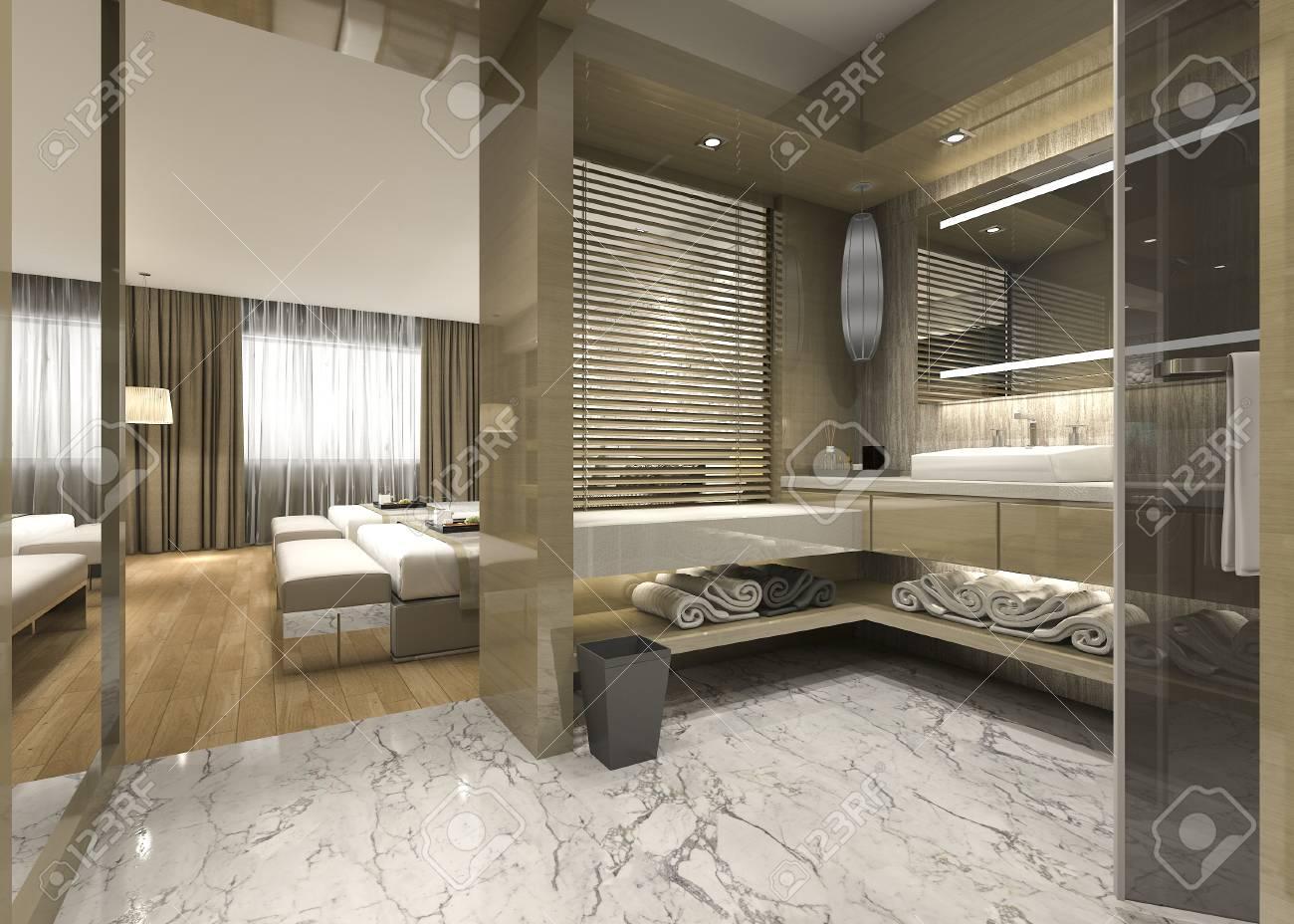 3d rendu moderne salle de bains en bois de luxe dans l & # 39 ; hôtel de