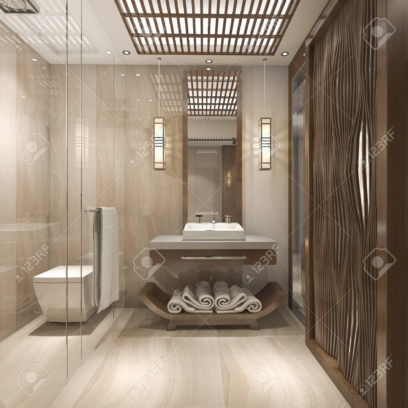 3d Rendering Modern Luxury Wood Bathroom In Suite Hotel Stock Photo