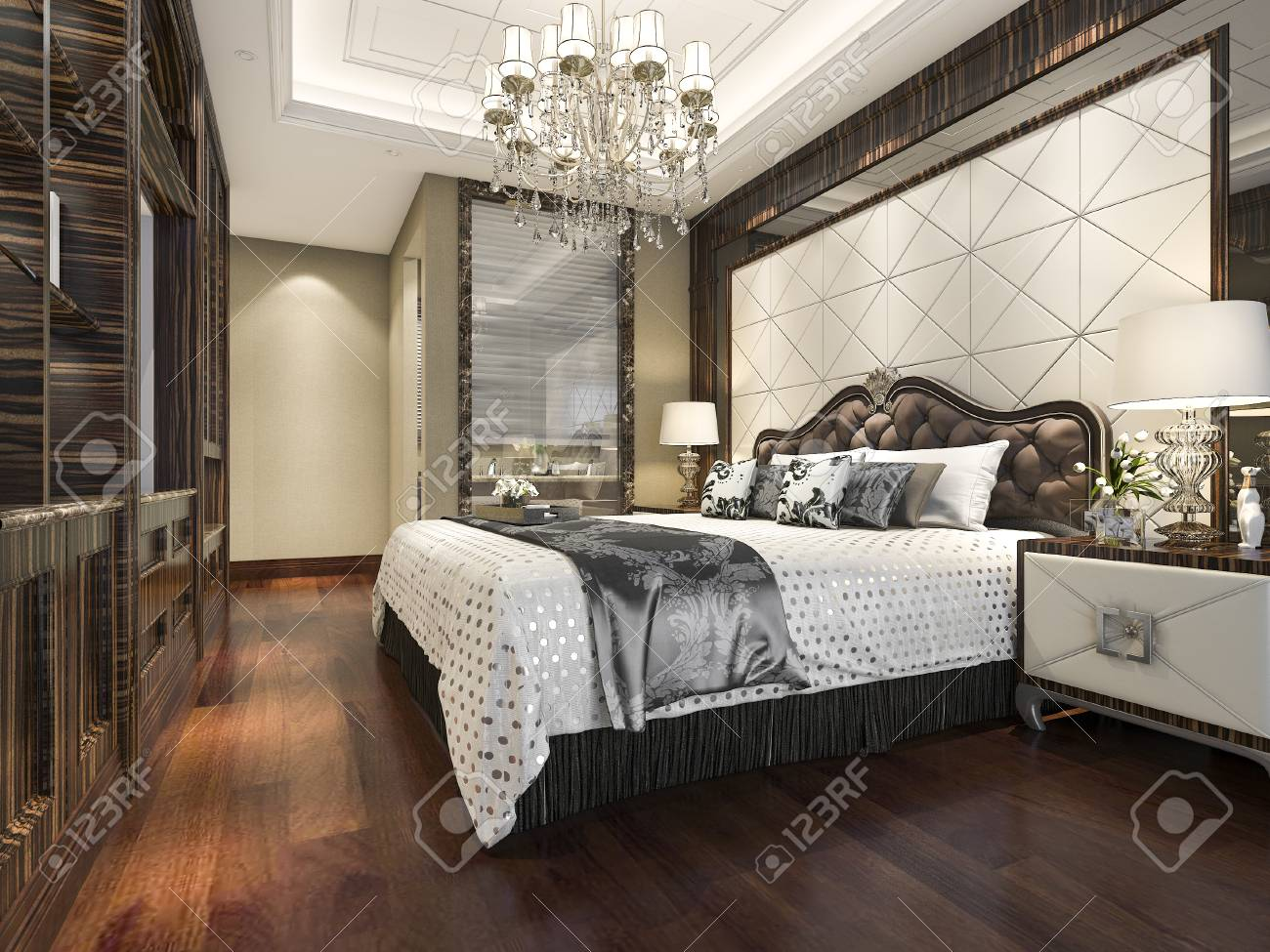 3d Rendering Wood Classic Bedroom Suite With Bookshelf And Bathroom ...