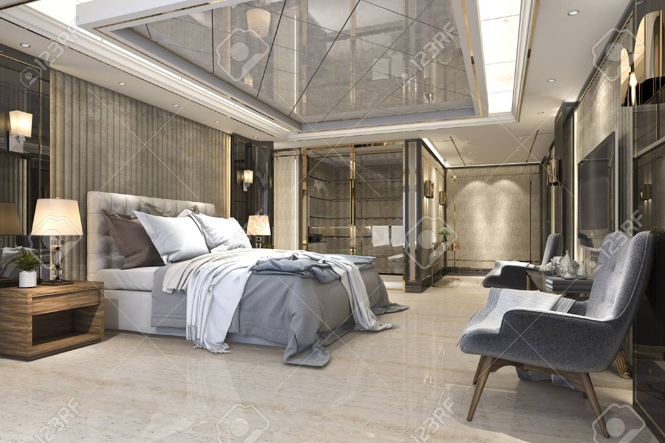 3d Rendering Beautiful Luxury Bedroom Suite In Hotel With Tv Stock Photo    99507436