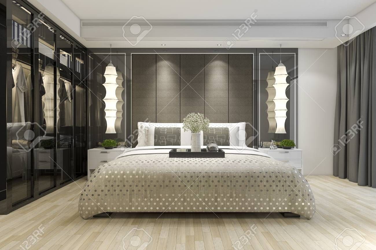 3d Rendering Luxury Modern Bedroom Suite Tv With Wardrobe And Stock Photo Picture And Royalty Free Image Image 99447743