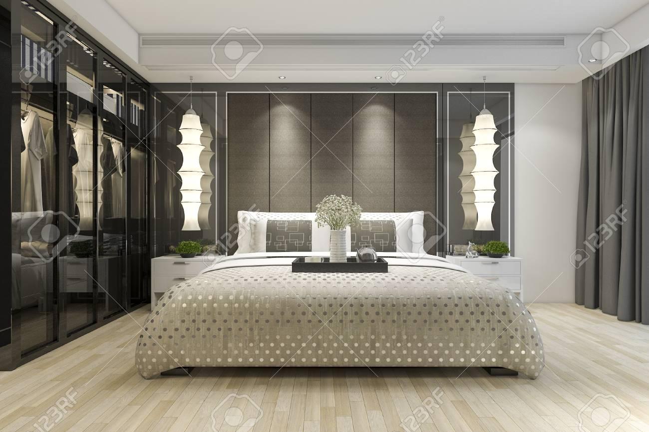 3d rendering luxury modern bedroom suite tv with wardrobe and..
