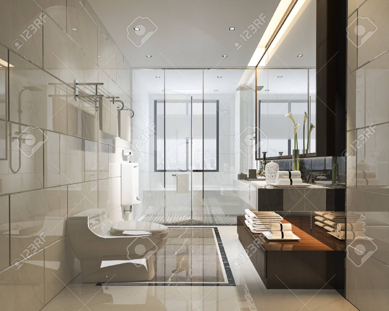 3d Rendering Luxury Modern Design Bathroom And Toilet Stock Photo Picture And Royalty Free Image Image 101828673