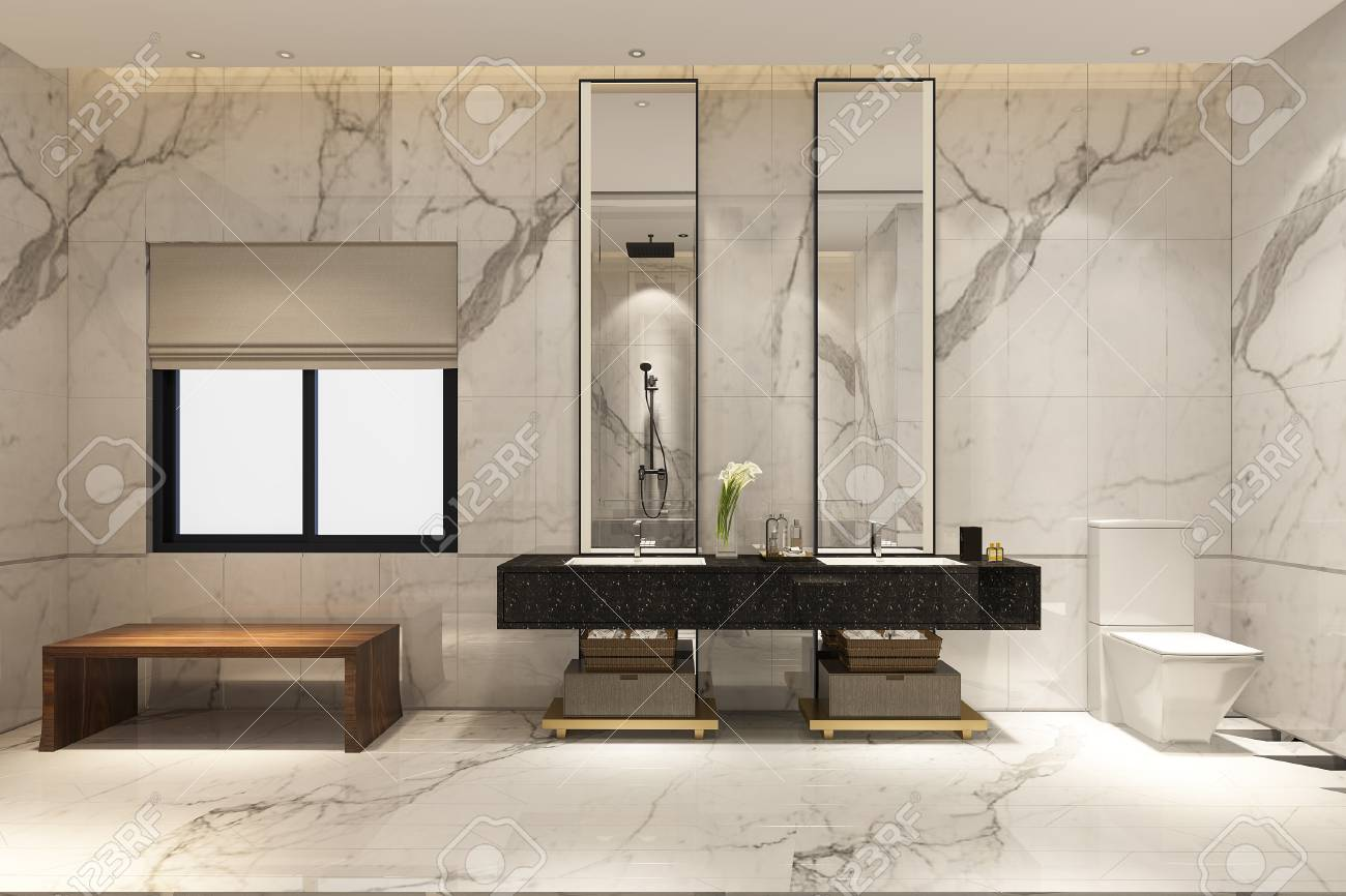 3d Rendering Luxury Modern Design Bathroom And Toilet Stock Photo Picture And Royalty Free Image Image 103048734