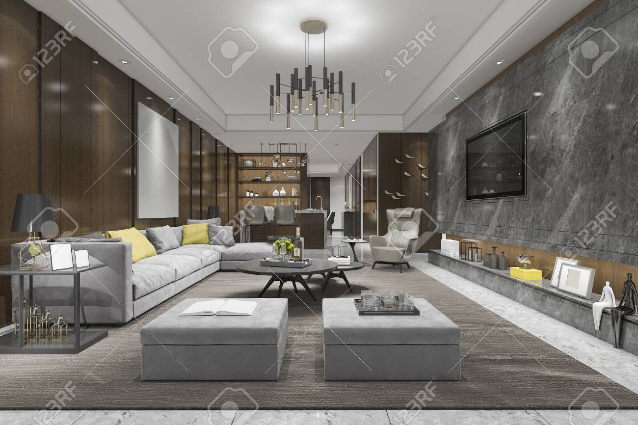 3d Rendering Modern Dining Room And Living Room With Luxury Decor Stock Photo Picture And Royalty Free Image Image 104668889
