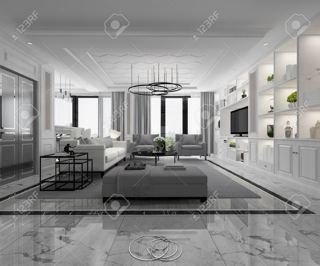 3d Rendering White Modern Classic Living Room With Marble Tile Stock Photo Picture And Royalty Free Image Image 106948387